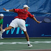 Danvers: Tennis star James Blake of the Boston Lobsters stretches out to backhand a ball in mixed doubles play  at the Ferncroft Country Club in Danvers on Thursday evening. Photo by David Le/Salem News