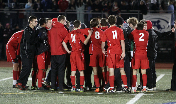 The Masco Boys Soccer team gather for one last meeting after losing in the state championship to Ludlow 2-1. David Le/Salem News