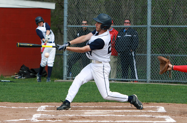 Hamilton-Wenham leadoff hitter James Parr manages to foul off a pitch from Masconomet starter Greg Jain on Tuesday afternoon. David Le/Staff Photo