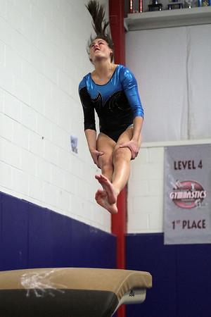 Danvers gymnast Jackie Veatch flips off the vault on Friday night. David Le/Salem News