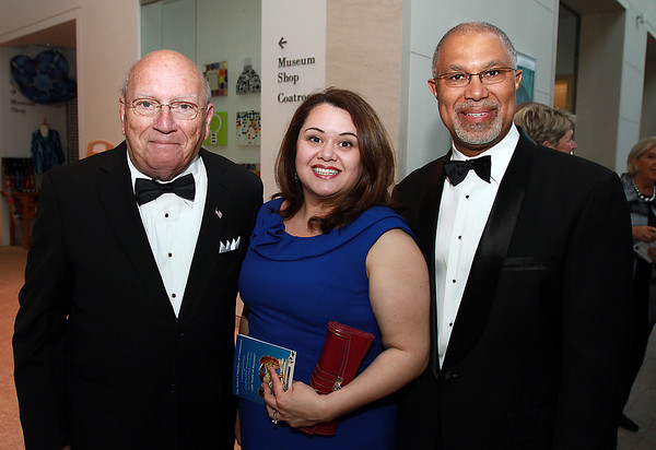 From left, Joseph O'Keefe, Paula Gomez-Stordy, and Thomas MacDonald, at the 100th Anniversary Celebration of the Salem Chamber of Commerce. David Le/Staff Photo