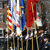 A color guard stands at attention during the 375th Anniversary Celebration for the National Guard on Salem Commons on Saturday morning. David Le/Staff Photo