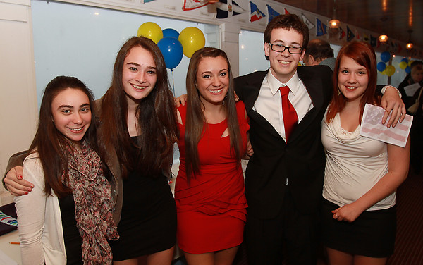 Marblehead High School students from left, Joanna Rosen, Annie Krivit, Alea Moscone, Calvin Falk, and Victoria Polunina, at Marblehead's Got Talent at the Boston Yacht Club. Eight finalists will perform and the winner will be awarded a $1,000 scholarship by the Marblehead Rotary Club. David Le/Staff Photo