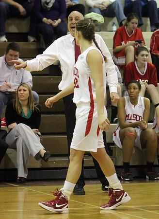 Masco head coach Bob Romeo instructs senior Brooke Stewart on her way back down court on Thursday night. David Le/Salem News