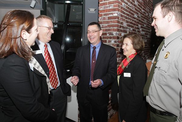 Salem: Newly appointed superintendent of the Salem Maritime National Historic Site, Michael Quijano-West, center, talks with from left, Kate Fox, Head of Destination Salem, Rinus Oosthoek, the President of the Salem Chamber of Commerce, Annie Harris, Executive Director of the Essex National Heritage Area, and Jonathan Parker, Chief Ranger of Salem Park Service. David Le/Salem News