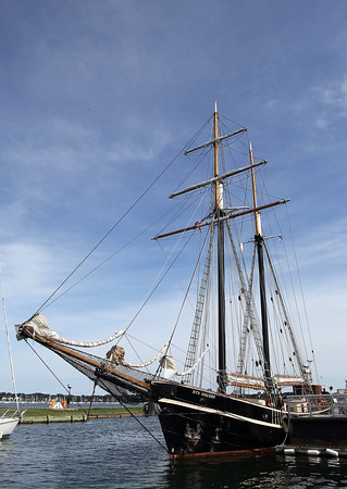 The Tallship Unicorn, an all-female crewed ship, docked at Central Wharf on Tuesday afternoon. The tall ship was built in 1947 in the Netherlands using recycled metal from captured German U-boats after World War II.  David Le/Staff Photo