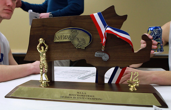 Danvers Falcons Division III State Championship Trophy. David Le/Staff Photo