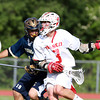 Masco attacker Wes Shrewsbury, right, shields the ball from Needham defender Michael Vespa on Wednesday afternoon.  David Le/Staff Photo