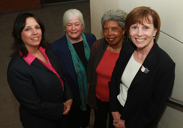 Curdina Hill, Executive Director of City Life/Vida Urbana, second from right, is the recipient of the 20th Annual Salem Award for Human Rights and Social Justice. She stands with from left, Kim Driscoll, Mayor of Salem, Meg Twohey, Chair of The Salem Award Foundation Board, and Dr. Patricia Maguire, President of Salem State University. David Le/Staff Photo
