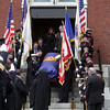 Peabody: The casket of Peabody firefighter Jim Rice is carried down the steps of St. Vasilios Greek Orthodox Church on Friday morning. David Le/Salem News