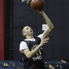 North Shore Tech jnior Cael Schaejbe lays the ball off the glass during practice on Wednesday. David Le/Salem News