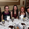 Beverly High School seniors from left, Jennifer Lomonte, Anita Coombs, Rachel Horzempa, Samantha Jones, and Ariana Cerro, at the 44th Annual Honor Scholars Recognition Dinner at CoCo Key Hotel in Danvers on Tuesday evening. David Le/Staff Photo