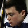 St. John's Prep __________ never lets his eyes leave the shaft of his stick as he concentrates before taking the ice against Austin Prep. David Le/Salem News