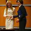 Patricia Maguire Meservey, right, President of Salem State University, greets and introduces Karen Kaplan, President of Hill Holliday, as the 2012 Agganis Forum got underway on Wednesday night. David Le/Staff Photo