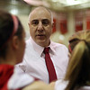 Masco head coach Bob Romeo speaks to his team during a timeout on Thursday night. David Le/Salem News