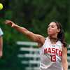 Masco senior shortstop Taylor Evans fires a strike to first base to throw out a North Reading runner. The Chieftans fell 17-2 on Wednesday afternoon. David Le/Staff Photo