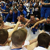 The Danvers High School Basketball team thanks their fans and celebrates with them after defeating Saugus in the D3 North Final at the Tsongas Center in Lowell on Saturday. With the win the Falcons advance to the state semi-finals on Monday night at the TD Garden. David Le/Staff Photo