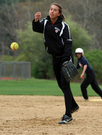 Masco pitcher Rachel Shamon throws a pitch during practice. David Le/Staff Photo