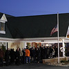 Peabody: Hundreds of people waited in line outside the Conway Cahill-Brodeur Funeral Home to pay their respects to fallen Peabody firefighter Jim Rice on Thursday evening. David Le/Salem News