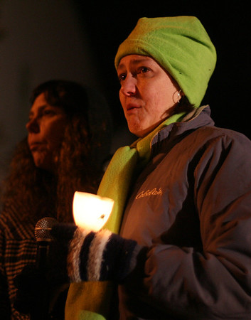 Tracie Novack, aunt of former human service worker Stephanie Moulton, of Peabody, who was allegedly murdered by a patient last January, tears up as she speaks about her niece on Wednesday night. David Le/Salem News