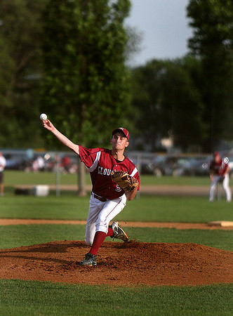 Danvers: Gloucester senior starting pitcher, Lucas Ilges, hurls a first pitch strike during the Woodman Baseball Tournament Championship game. Photo by David Le/Salem News