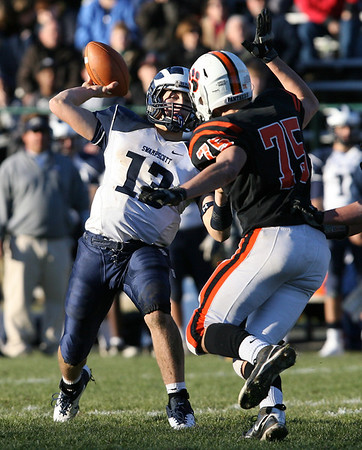 Swampscott High School quarterback Mike Walsh drops back to pass against Beverly on Saturday afternoon. The Big Blue defeated the Panthers 21-13 at Hurd Stadium on Saturday. David Le/Salem News