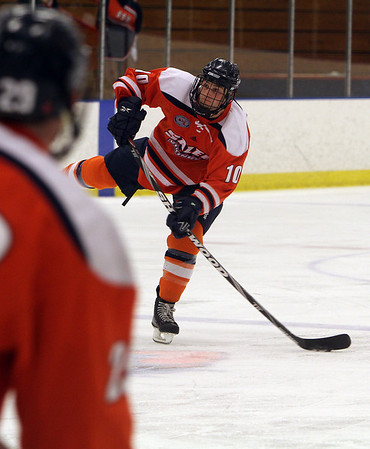 Salem State's Matthew Genovese (10), rips a shot on net against Plymouth State on Saturday. David Le/Salem News
