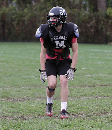 Marblehead senior Will Quigley plays cornerback at practice on Thursday afternoon. David Le/Salem News