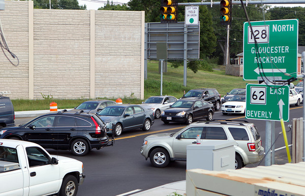 A new traffic pattern and added traffic lights at the intersection of Routes 62 and 128 in Danvers, has created massive traffic backups and problems for commuters. David Le/Staff Photo