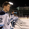 University of Maine defenseman Mike Cornell (2) prepares for the Black Bear's Frozen Fenway game against UNH on Saturday night. David Le/Salem News