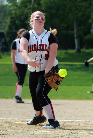 Marblehead starting pitcher Michaela Leblanc fires a strike against Malden on Monday afternoon. David Le/Staff Photo