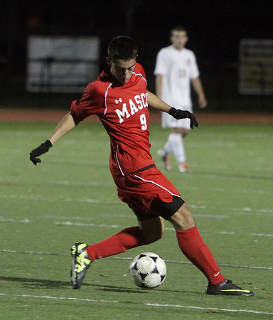 Masco junior Keeyon Olia controls the ball against Greater New Bedford on Tuesday night. David Le/Salem News