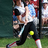 Marblehead third baseman Lucia Chalek makes contact against Malden on Monday afternoon. David Le/Staff Photo