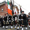 Peabody: Bagpipers march by the Peabody Fire Department on Friday morning., David Le/Salem News