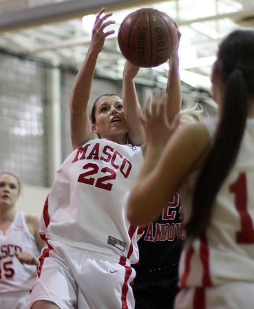 Topsfield: Masco junior Claudia Marsh goes up strong and grabs a rebound away from a North Andover player on Tuesdaynight. David Le/Salem News
