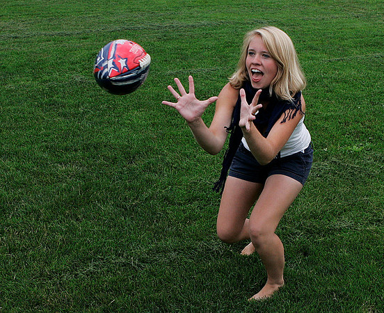 Marblehead: Kelsey Pederson, of Marblehead waits to haul in the football while playing catch at the Village School in Marblehead on Tuesday afternoon. Photo by David Le/Salem News