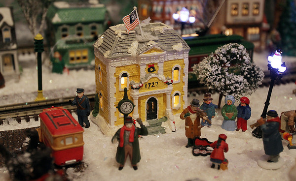 Marblehead: Old Town Hall- a part of the scenery in Stu Curtis' model train set which he donated to the Gerry 5 for Christmas time. David Le/Salem News