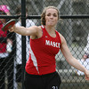 Masco junior Abi Rose throws the discus against Hamilton-Wenham on Wednesday afternoon. David Le/Staff Photo