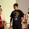 """Beverly Briscoe middle schoolers from left, Dylan DeSilva, playing """"Billy Crocker,"""" Nate Long, playing """"Moonface Martin,"""" and Gina Maffei, playing """"Bonnie"""" rehearse in preparation for their performances on Thursday and Friday evenings (May 3rd and 4th) at 7 pm, and their Saturday afternoon showing at 2pm. Tickets will be available at the door $8 for students and senior citizens, and $10 for adults.  David Le/Staff Photo"""