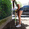 Masco sophomore Fiona Greenaway rakes some fresh dirt in the backyard of 23 Chase St. in Beverly, a forclosed home that is being restored by the North Shore Habitat for Humanity with the help of Masconomet students in the Habitat for Humanity Club. David Le/Staff Photo