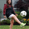 Alyssa Manoogian, a graduate of Peabody High School, and Colgate University senior, injured her hip during the 2011 season. After having surgery last winter, Manoogian is gearing up for the fall soccer season once more. David Le/Staff Photo