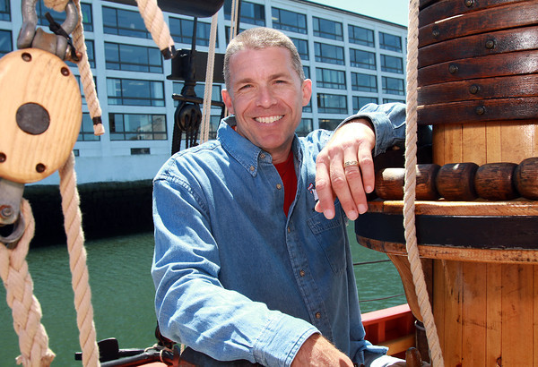 Michael Rutstein, is the owner and Captain of the Fame, a chebacco schooner modeled after a schooner from the War of 1812. David Le/Staff Photo