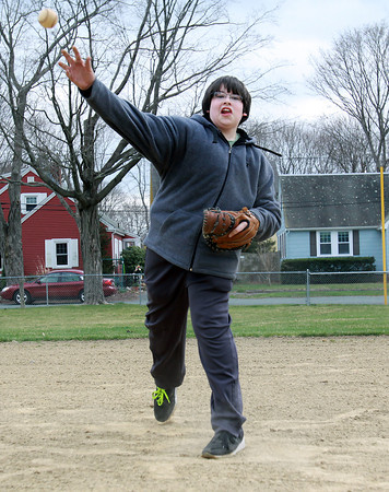 Jacob Crosbie, 12, of Beverly, plays baseball at Kimball Haskell Park on Wednesday afternoon. David Le/Staff Photo