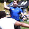Hamilton-Wenham quarterback Trevor Lyons throws a pass against Bishop Fenwick during a 7 on 7 passing tournament held at Bishop Fenwick High School on Saturday. David Le/Staff Photo