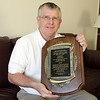 Local candlepin bowler, Bob Shepard, of Beverly, was inducted into the Candlepin Bowling Hall of Fame last week, and displays the plaque given to him. David Le/Salem News