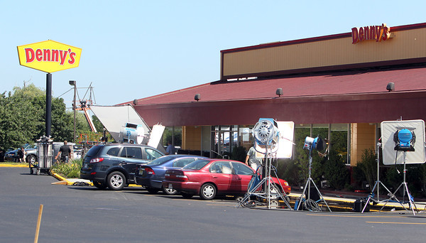 The Denny's on Endicott Street in Danvers has been transformed temporarily into a movie set to film a Sandra Bullock movie. David Le/Staff Photo