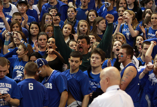 Danvers High School fans cheer on their team during the D3 State Final at the DCU Center in Worcester. David Le/Staff Photo
