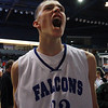Danvers senior George Merry lets out a celebratory yell following a Falcons victory over Saugus on Saturday afternoon to advance to the state semi-final at the TD Garden. David Le/Staff Photo