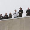 Peabody: Spectators stood on the roof of Peabody District Court to view the funeral procession for fallen Peabody firefighter Jim Rice on Friday morning. David Le/Salem News