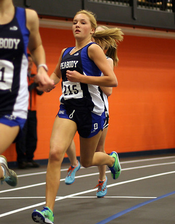 Peabody's Lauren Barrett competes in the 1000m race on Thursday afternoon. David Le/Salem News